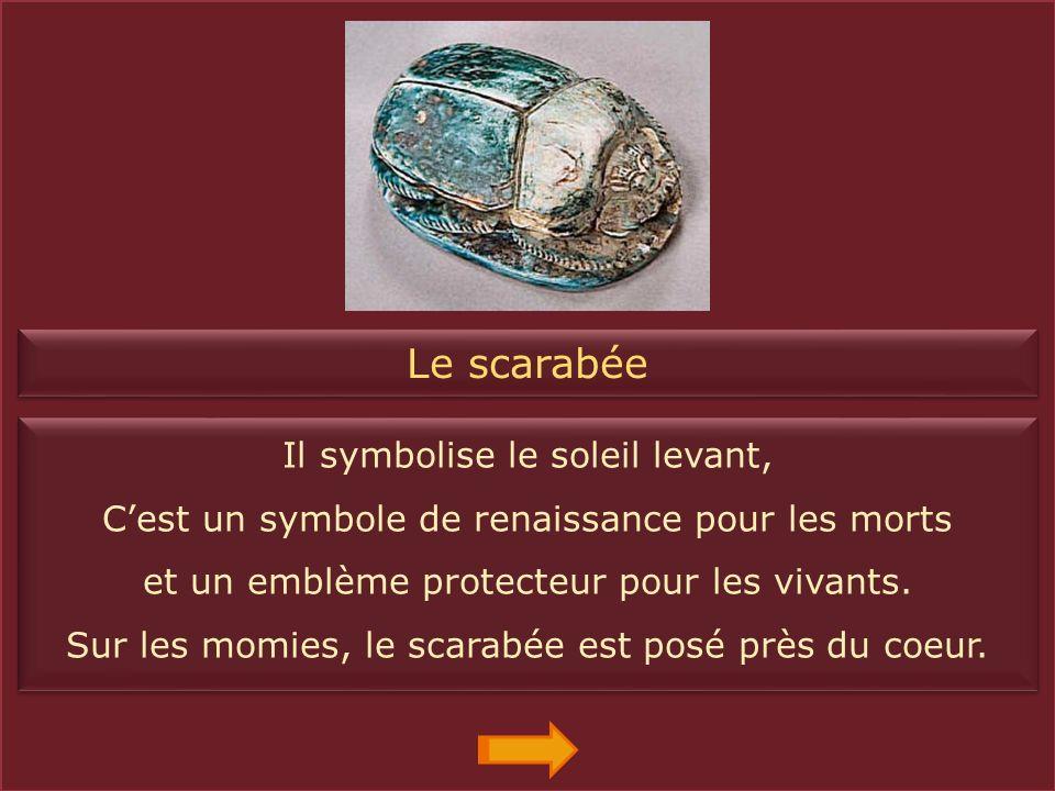 Le coeur Cest le symbole de la pensée et de lesprit. Les amulettes en forme de coeur sont placées dans les bandelettes de toutes les momies. Cest le s