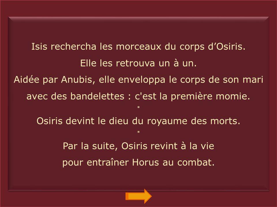 Enfin, Isis retrouva le corps d'Osiris. Grâce à sa magie, elle ranima un moment son mari. * Isis et Osiris eurent un fils : Horus. Isis se cacha avec