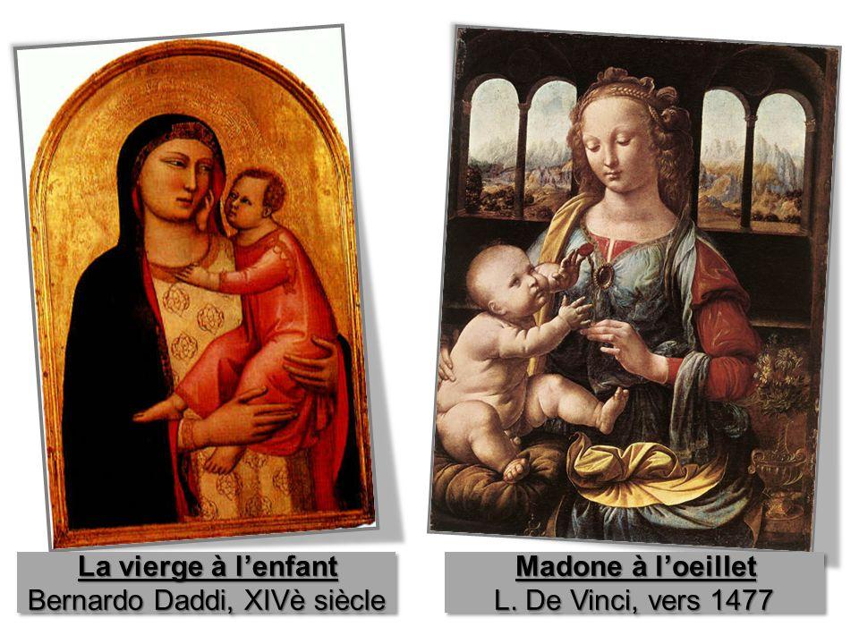 des peintures la 1 ère date du XIVè siècle, lautre du XVè siècle sujet religieux: la vierge Marie et son enfant Jésus le fond les visages (expression, réalisme) les corps de lenfant