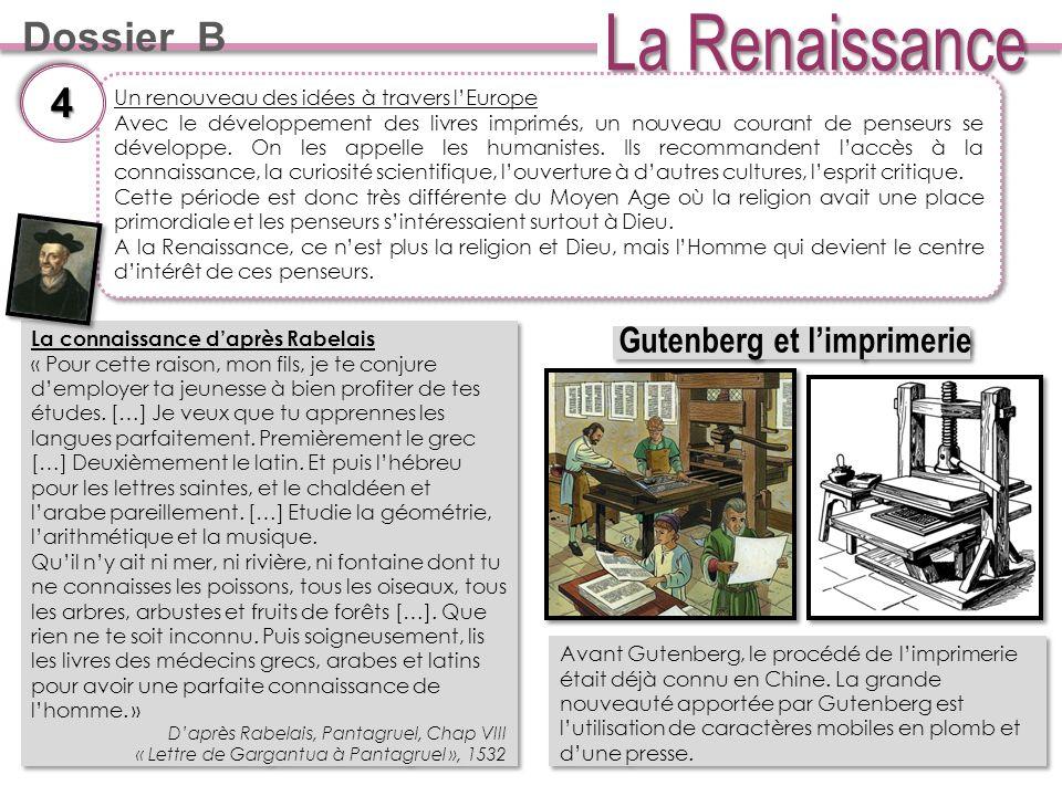 Dossier B Un renouveau des idées à travers lEurope Avec le développement des livres imprimés, un nouveau courant de penseurs se développe.