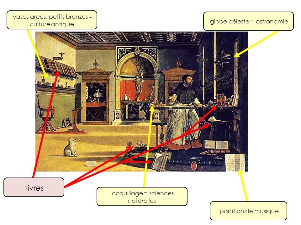 coquillage = sciences naturelles partition de musique globe céleste = astronomie vases grecs, petits bronzes = culture antique livres