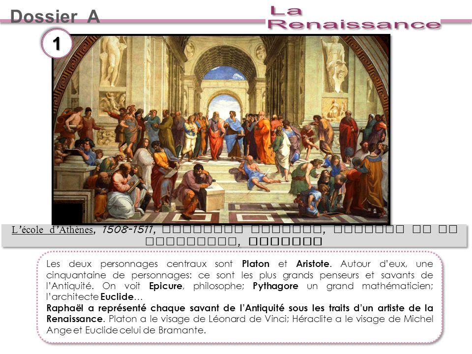 Dossier A L école d Athènes, 1508-1511, Chapelle Sixtine, chambre de la Signature, RAPHAEL 11 Les deux personnages centraux sont Platon et Aristote.