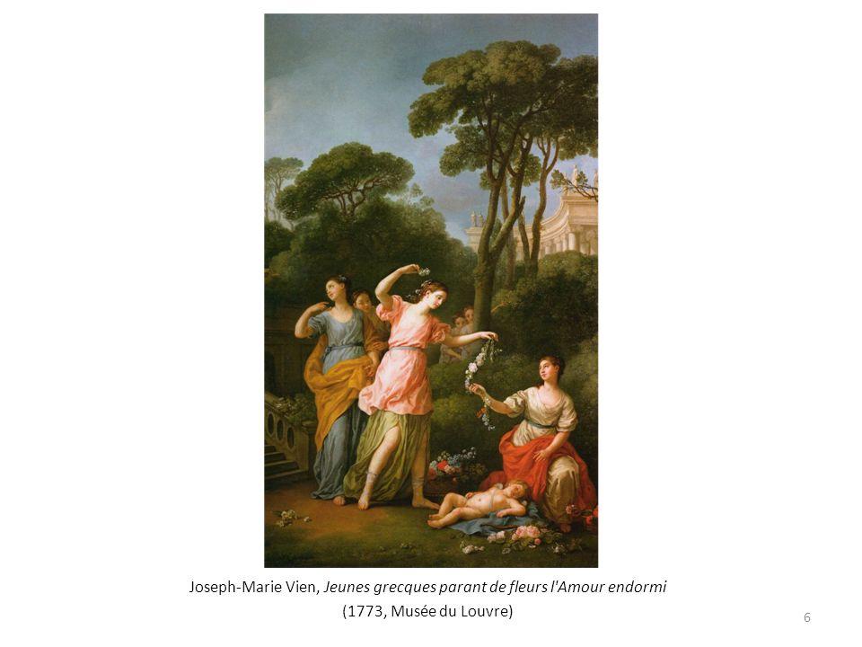 Joseph-Marie Vien, Jeunes grecques parant de fleurs l Amour endormi (1773, Musée du Louvre) 6