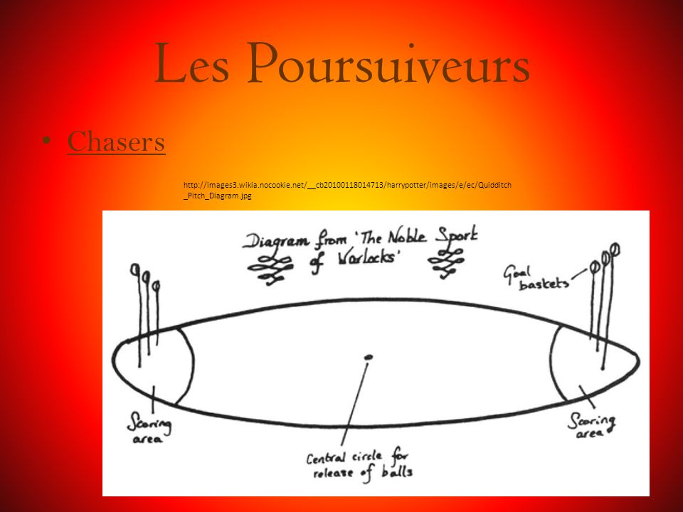 Les Poursuiveurs Chasers http://images3.wikia.nocookie.net/__cb20100118014713/harrypotter/images/e/ec/Quidditch _Pitch_Diagram.jpg