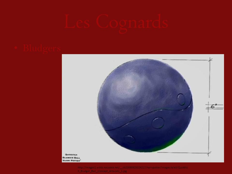 Les Cognards Bludgers http://images1.wikia.nocookie.net/__cb20090925024217/harrypotter/images/e/e3/Quidditc h_Bludger_Ball_(Concept_Artwork)_1.jpg
