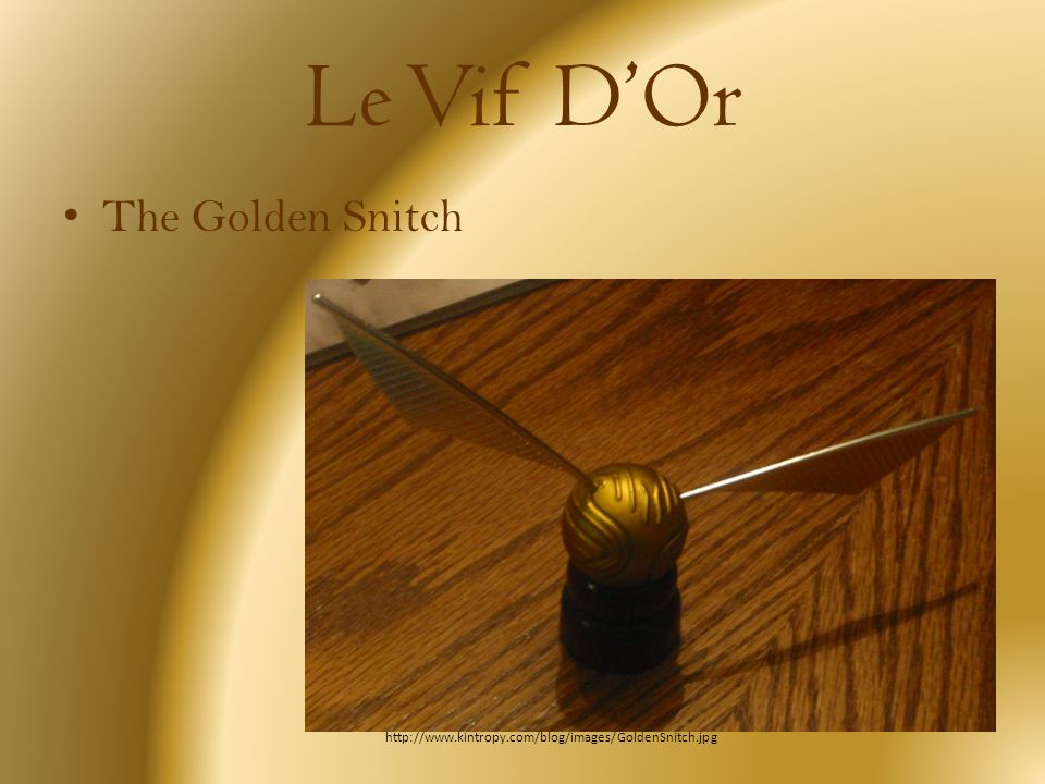 Le Vif DOr The Golden Snitch http://www.kintropy.com/blog/images/GoldenSnitch.jpg