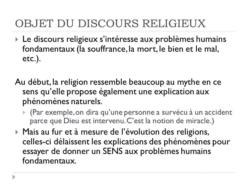 OBJET DU DISCOURS RELIGIEUX Le discours religieux sintéresse aux problèmes humains fondamentaux (la souffrance, la mort, le bien et le mal, etc.).