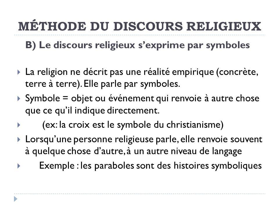 MÉTHODE DU DISCOURS RELIGIEUX B) Le discours religieux sexprime par symboles La religion ne décrit pas une réalité empirique (concrète, terre à terre).