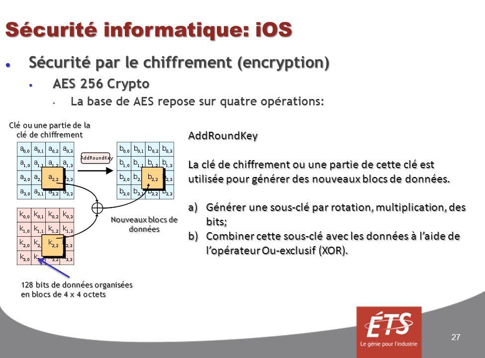 Sécurité informatique: iOS Sécurité par le chiffrement (encryption) Sécurité par le chiffrement (encryption) AES 256 Crypto AES 256 Crypto La base de AES repose sur quatre opérations: 27 AddRoundKey La clé de chiffrement ou une partie de cette clé est utilisée pour générer des nouveaux blocs de données.