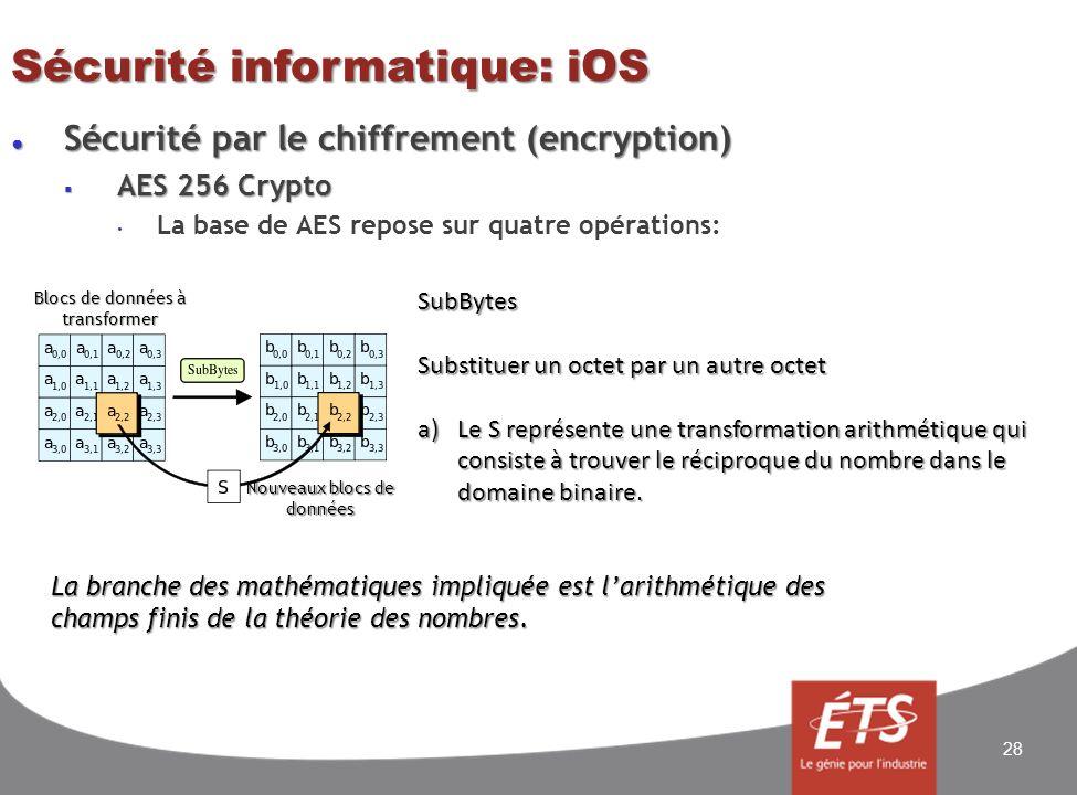 Sécurité informatique: iOS Sécurité par le chiffrement (encryption) Sécurité par le chiffrement (encryption) AES 256 Crypto AES 256 Crypto La base de AES repose sur quatre opérations: 28 SubBytes Substituer un octet par un autre octet a)Le S représente une transformation arithmétique qui consiste à trouver le réciproque du nombre dans le domaine binaire.