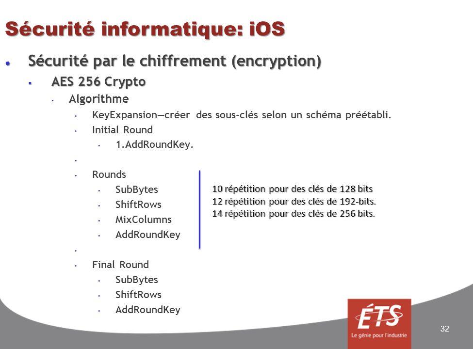 Sécurité informatique: iOS Sécurité par le chiffrement (encryption) Sécurité par le chiffrement (encryption) AES 256 Crypto AES 256 Crypto Algorithme KeyExpansioncréer des sous-clés selon un schéma préétabli.