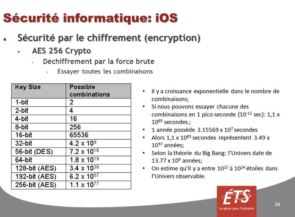 Sécurité informatique: iOS Sécurité par le chiffrement (encryption) Sécurité par le chiffrement (encryption) AES 256 Crypto AES 256 Crypto Déchiffrement par la force brute Essayer toutes les combinaisons 34 Il y a croissance exponentielle dans le nombre de combinaisons; Il y a croissance exponentielle dans le nombre de combinaisons; Si nous pouvons essayer chacune des combinaisons en 1 pico-seconde (10 -12 sec): 1,1 x 10 65 secondes.; Si nous pouvons essayer chacune des combinaisons en 1 pico-seconde (10 -12 sec): 1,1 x 10 65 secondes.; 1 année possède 3.15569 x 10 7 secondes 1 année possède 3.15569 x 10 7 secondes Alors 1,1 x 10 65 secondes représentent 3.49 x 10 57 années; Alors 1,1 x 10 65 secondes représentent 3.49 x 10 57 années; Selon la théorie du Big Bang: lUnivers date de 13.77 x 10 9 années; Selon la théorie du Big Bang: lUnivers date de 13.77 x 10 9 années; On estime quil y a entre 10 22 à 10 24 étoiles dans lUnivers observable.