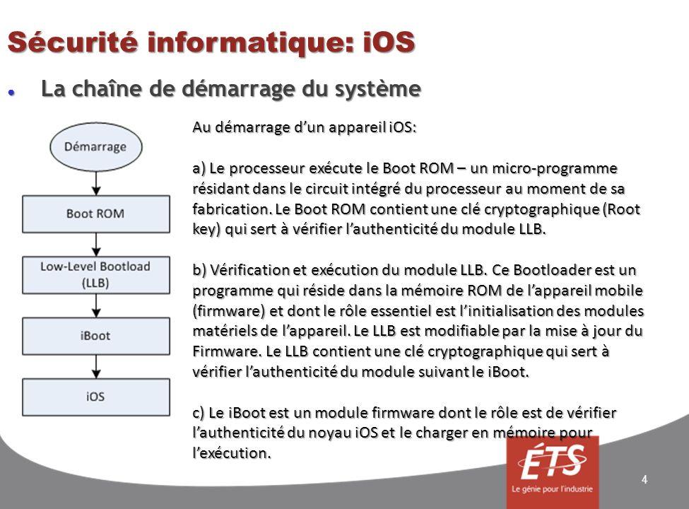 Sécurité informatique: iOS La chaîne de démarrage du système La chaîne de démarrage du système 4 Au démarrage dun appareil iOS: a) Le processeur exécute le Boot ROM – un micro-programme résidant dans le circuit intégré du processeur au moment de sa fabrication.
