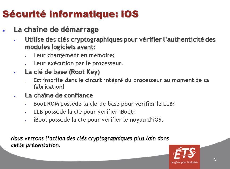 Sécurité informatique: iOS Sécurité par le chiffrement (encryption) Sécurité par le chiffrement (encryption) Concept de base Concept de base Le chiffrement ADFGVX; 16 ADFGVX A8p3d1n Dlt4oah F7kbc5z Gju6wgm Vxsvir2 X9ey0fq Le chiffrement seffectue en deux étapes: 1.Encoder le message par substitution des lettres Chaque lettre du message à chiffrer est représenté par deux codes; Chaque lettre du message à chiffrer est représenté par deux codes; Les colonnes donnent le premier code; Les colonnes donnent le premier code; Les lignes donnent le deuxième code.