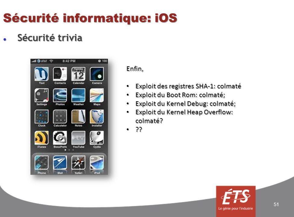 Sécurité trivia Sécurité trivia Sécurité informatique: iOS 51 Enfin, Exploit des registres SHA-1: colmaté Exploit des registres SHA-1: colmaté Exploit du Boot Rom: colmaté; Exploit du Boot Rom: colmaté; Exploit du Kernel Debug: colmaté; Exploit du Kernel Debug: colmaté; Exploit du Kernel Heap Overflow: colmaté.