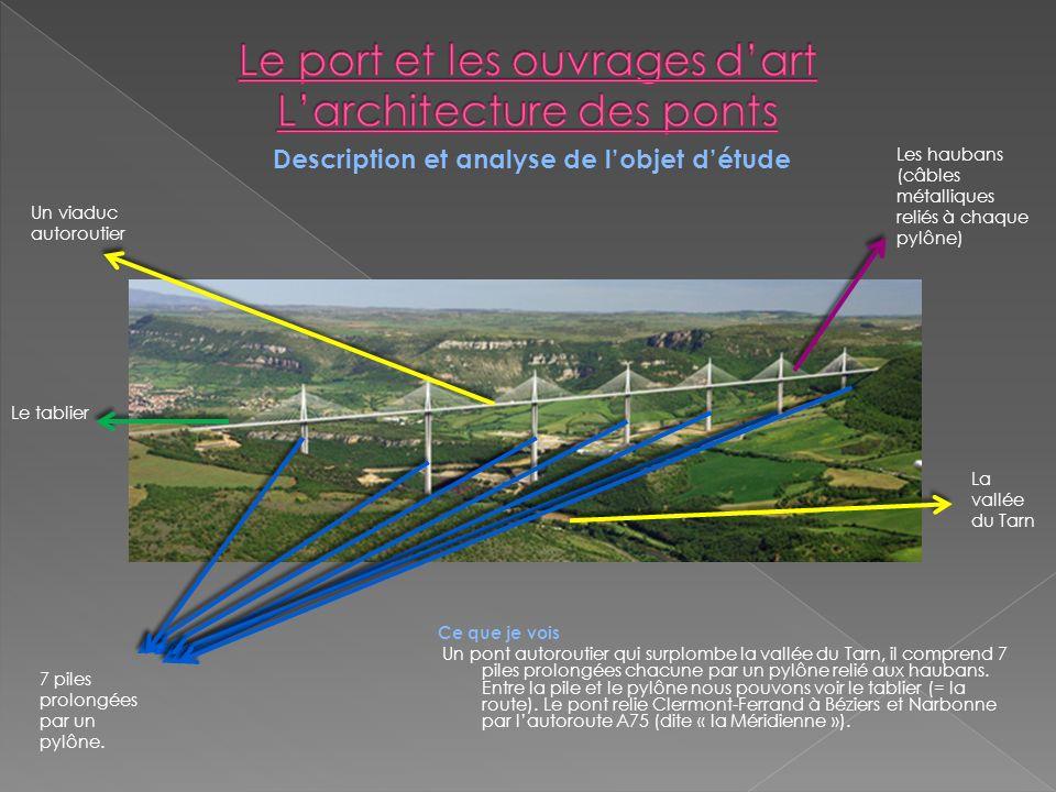 Ce que je vois Un pont autoroutier qui surplombe la vallée du Tarn, il comprend 7 piles prolongées chacune par un pylône relié aux haubans.