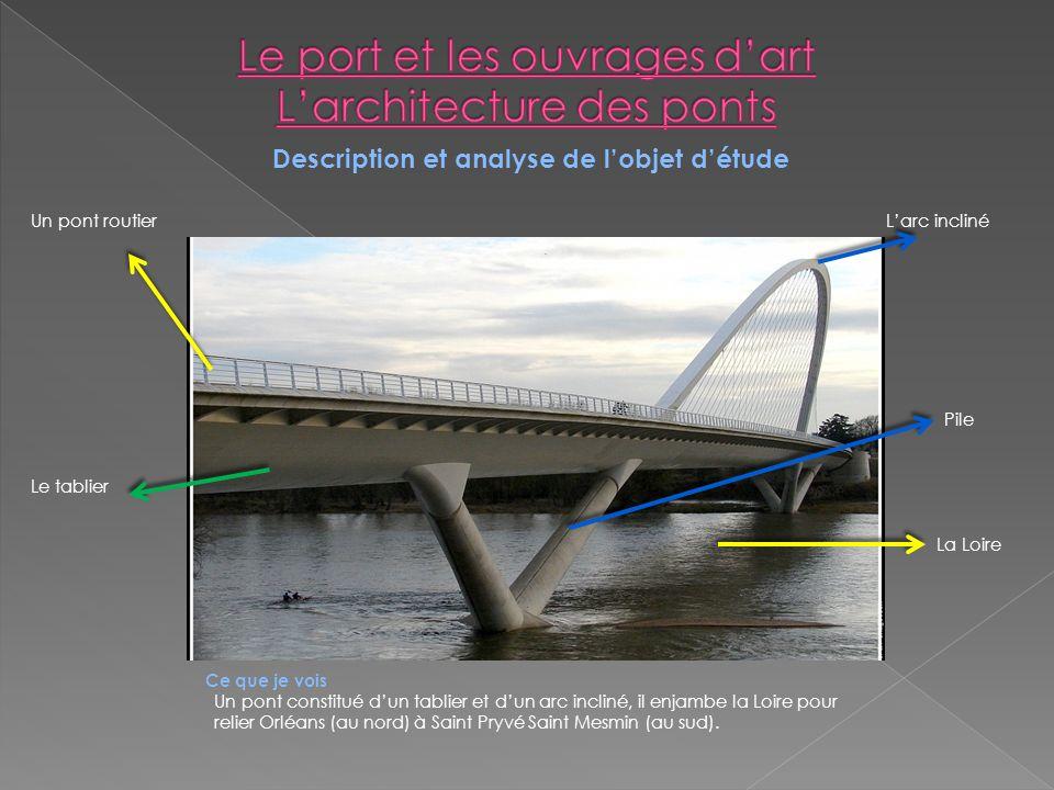 Ce que je vois Un pont constitué dun tablier et dun arc incliné, il enjambe la Loire pour relier Orléans (au nord) à Saint Pryvé Saint Mesmin (au sud)