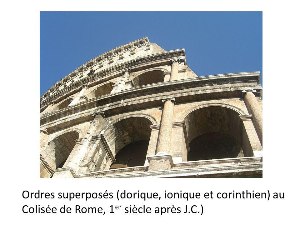 Ordres superposés (dorique, ionique et corinthien) au Colisée de Rome, 1 er siècle après J.C.)