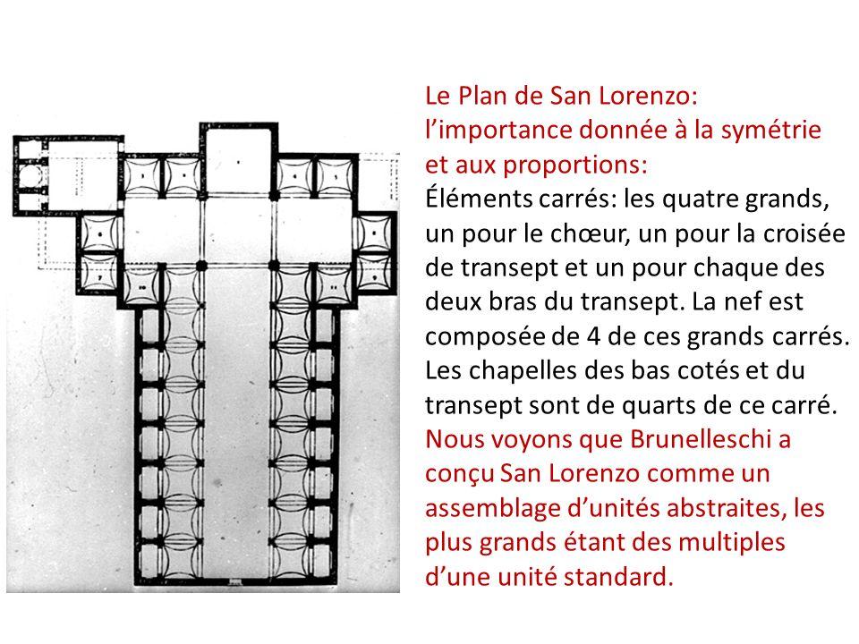 Le Plan de San Lorenzo: limportance donnée à la symétrie et aux proportions: Éléments carrés: les quatre grands, un pour le chœur, un pour la croisée de transept et un pour chaque des deux bras du transept.