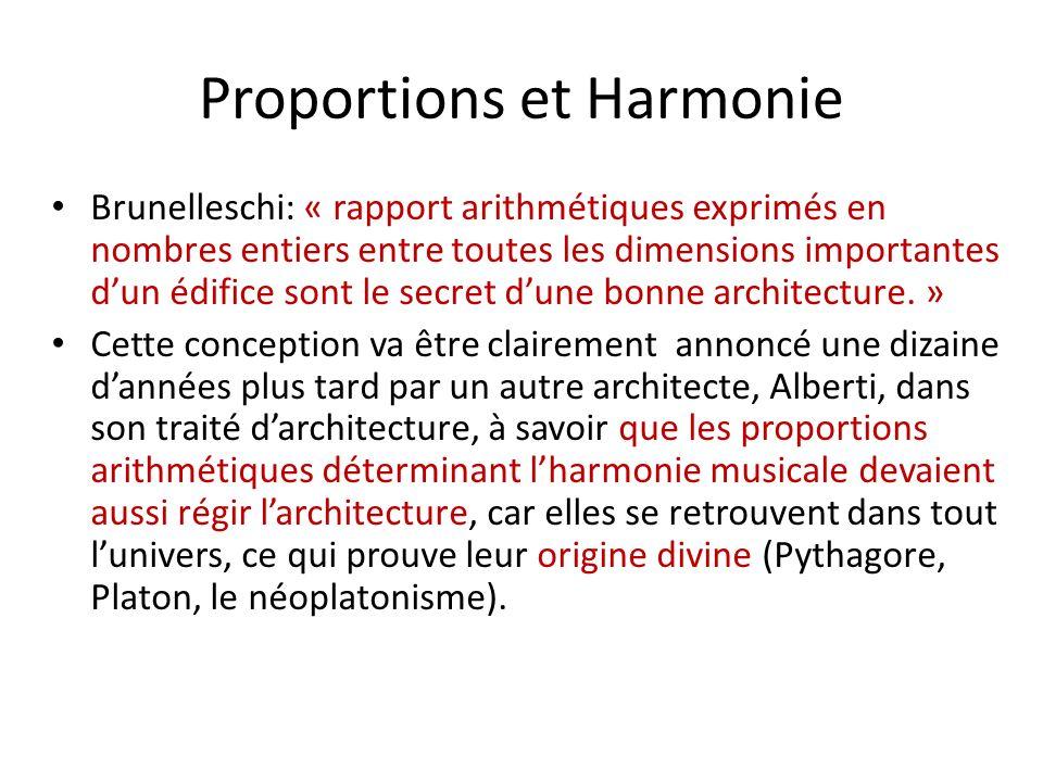 Proportions et Harmonie Brunelleschi: « rapport arithmétiques exprimés en nombres entiers entre toutes les dimensions importantes dun édifice sont le secret dune bonne architecture.