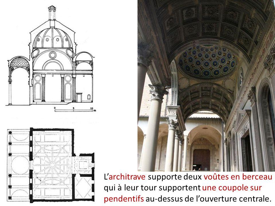 Larchitrave supporte deux voûtes en berceau qui à leur tour supportent une coupole sur pendentifs au-dessus de louverture centrale.
