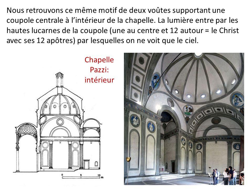 Nous retrouvons ce même motif de deux voûtes supportant une coupole centrale à lintérieur de la chapelle.