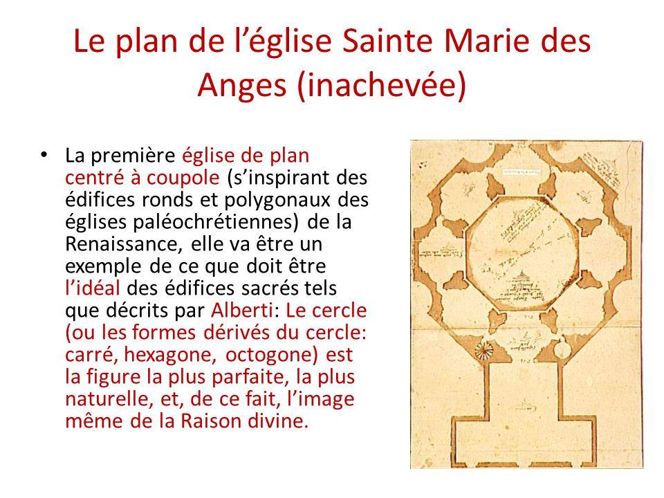 Le plan de léglise Sainte Marie des Anges (inachevée) La première église de plan centré à coupole (sinspirant des édifices ronds et polygonaux des églises paléochrétiennes) de la Renaissance, elle va être un exemple de ce que doit être lidéal des édifices sacrés tels que décrits par Alberti: Le cercle (ou les formes dérivés du cercle: carré, hexagone, octogone) est la figure la plus parfaite, la plus naturelle, et, de ce fait, limage même de la Raison divine.