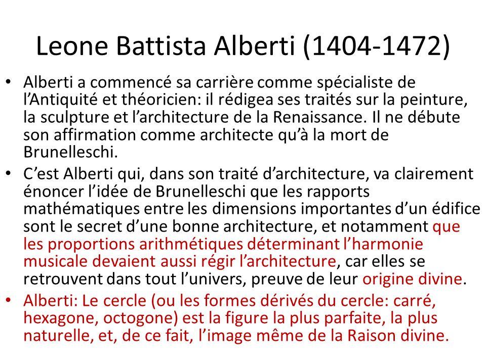 Leone Battista Alberti (1404-1472) Alberti a commencé sa carrière comme spécialiste de lAntiquité et théoricien: il rédigea ses traités sur la peinture, la sculpture et larchitecture de la Renaissance.