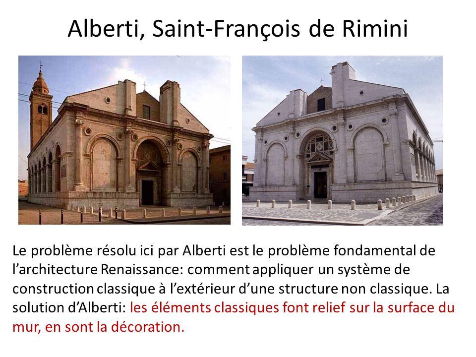 Alberti, Saint-François de Rimini Le problème résolu ici par Alberti est le problème fondamental de larchitecture Renaissance: comment appliquer un système de construction classique à lextérieur dune structure non classique.