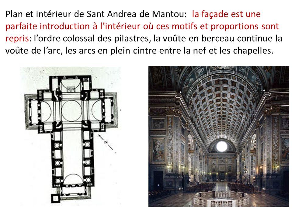 Plan et intérieur de Sant Andrea de Mantou: la façade est une parfaite introduction à lintérieur où ces motifs et proportions sont repris: lordre colossal des pilastres, la voûte en berceau continue la voûte de larc, les arcs en plein cintre entre la nef et les chapelles.