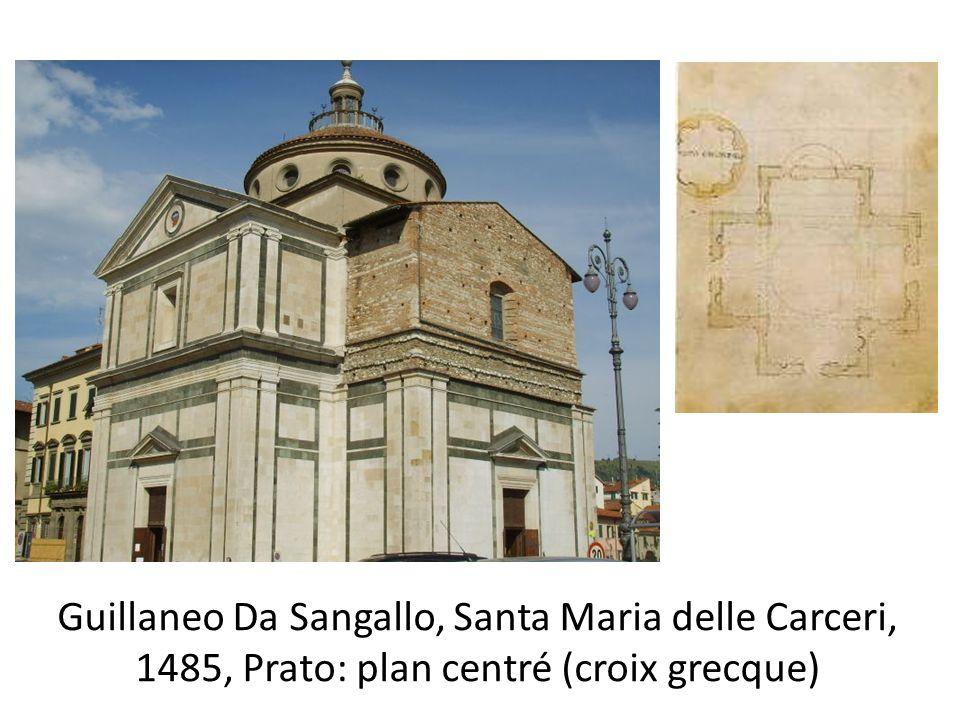 Guillaneo Da Sangallo, Santa Maria delle Carceri, 1485, Prato: plan centré (croix grecque)