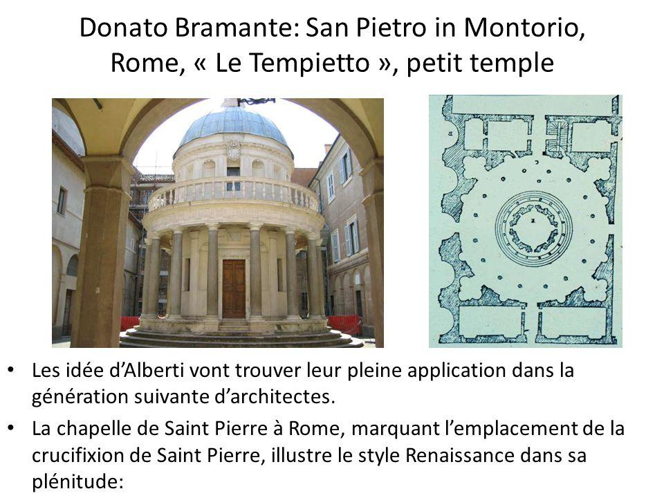 Donato Bramante: San Pietro in Montorio, Rome, « Le Tempietto », petit temple Les idée dAlberti vont trouver leur pleine application dans la génération suivante darchitectes.