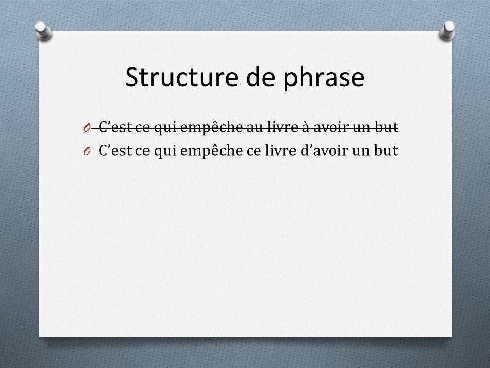 Structure de phrase O Cest ce qui empêche au livre à avoir un but O Cest ce qui empêche ce livre davoir un but