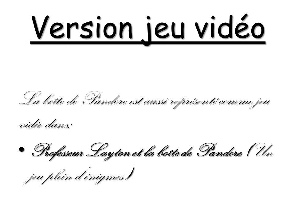Version jeu vidéo La boîte de Pandore est aussi représenté comme jeu vidéo dans: Professeur Layton et la boîte de Pandore (Un jeu plein dénigmes) Professeur Layton et la boîte de Pandore (Un jeu plein dénigmes)
