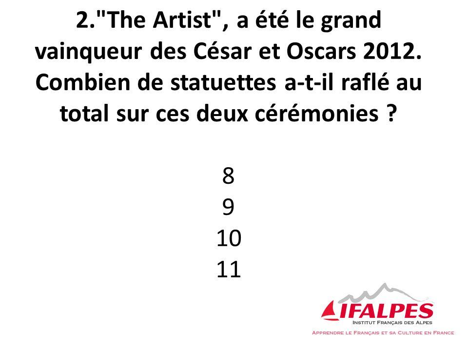 2. The Artist , a été le grand vainqueur des César et Oscars 2012.