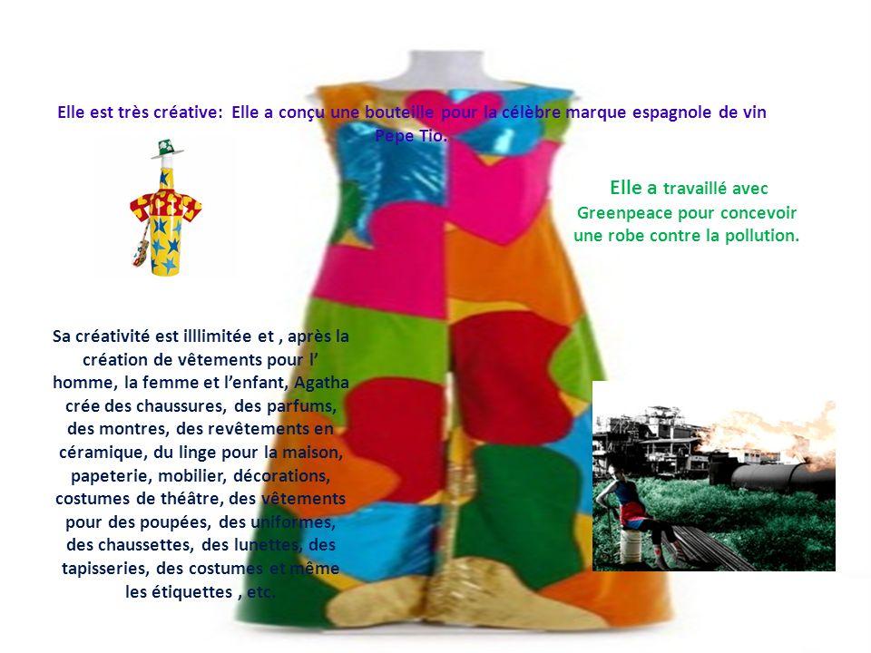 Elle est très créative: Elle a conçu une bouteille pour la célèbre marque espagnole de vin Pepe Tio. Elle a travaillé avec Greenpeace pour concevoir u