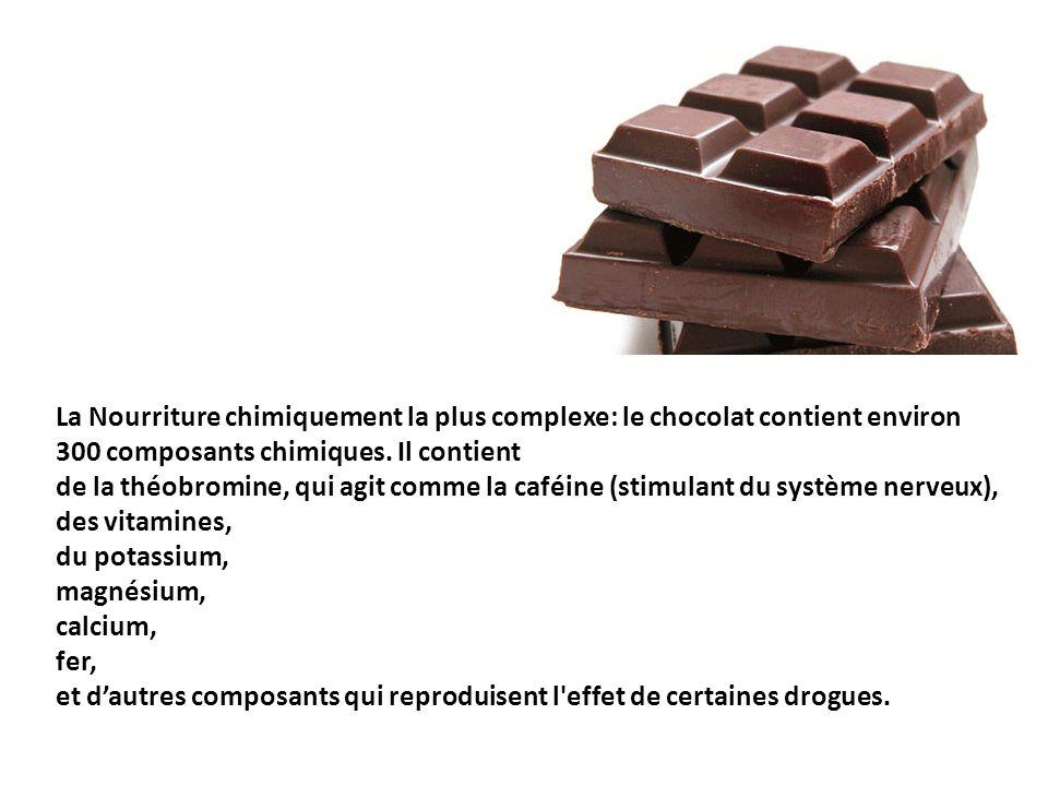 La Nourriture chimiquement la plus complexe: le chocolat contient environ 300 composants chimiques.