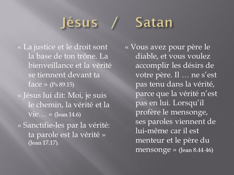 « La justice et le droit sont la base de ton trône. La bienveillance et la vérité se tiennent devant ta face » (Ps 89.15) « Jésus lui dit: Moi, je sui