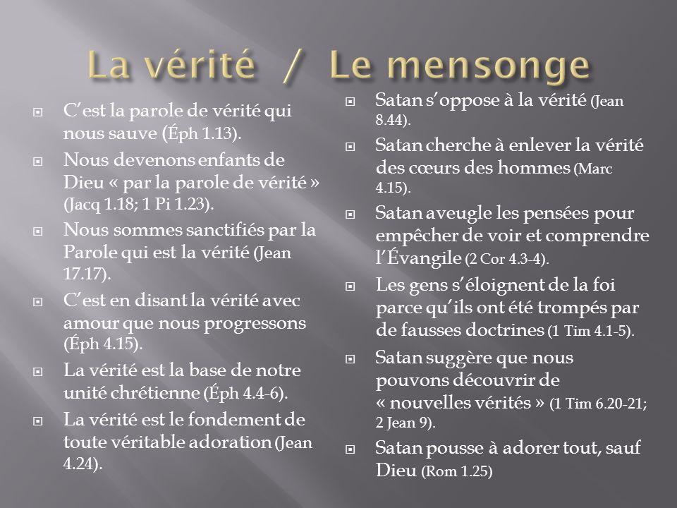 Cest la parole de vérité qui nous sauve ( Éph 1.13). Nous devenons enfants de Dieu « par la parole de vérité » (Jacq 1.18; 1 Pi 1.23). Nous sommes san