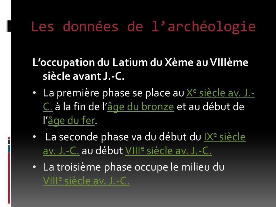 Les données de larchéologie Loccupation du Latium du Xème au VIIIème siècle avant J.-C.