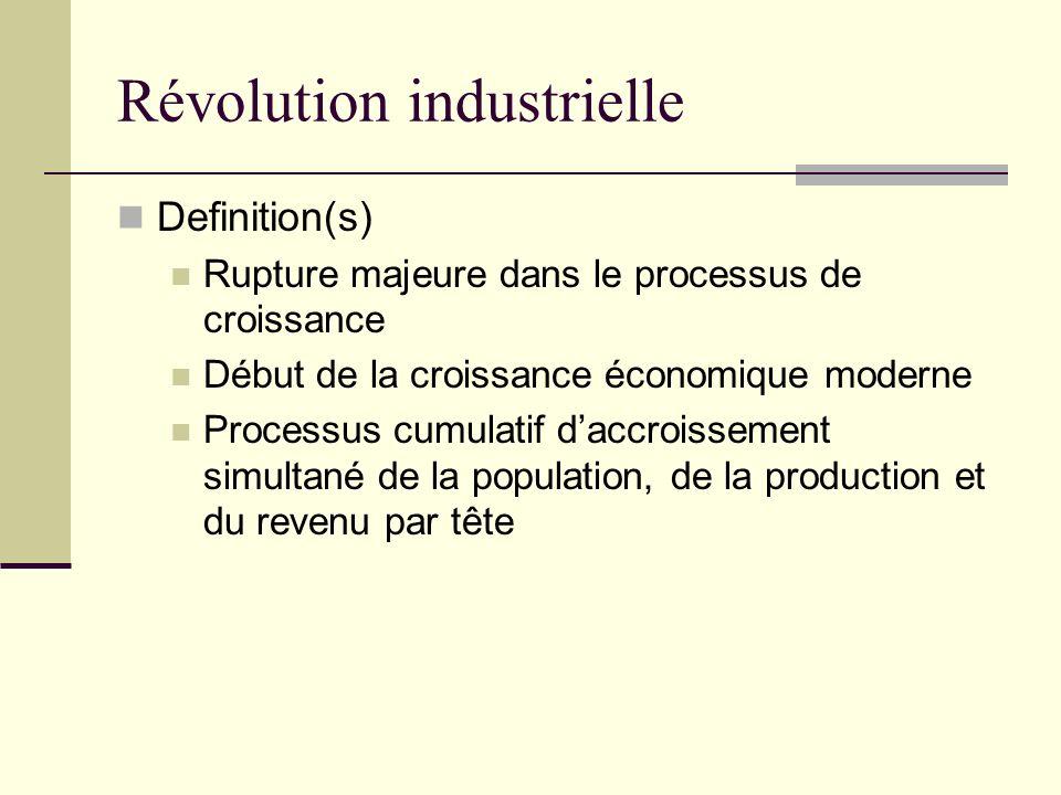 Révolution industrielle Definition(s) Rupture majeure dans le processus de croissance Début de la croissance économique moderne Processus cumulatif daccroissement simultané de la population, de la production et du revenu par tête