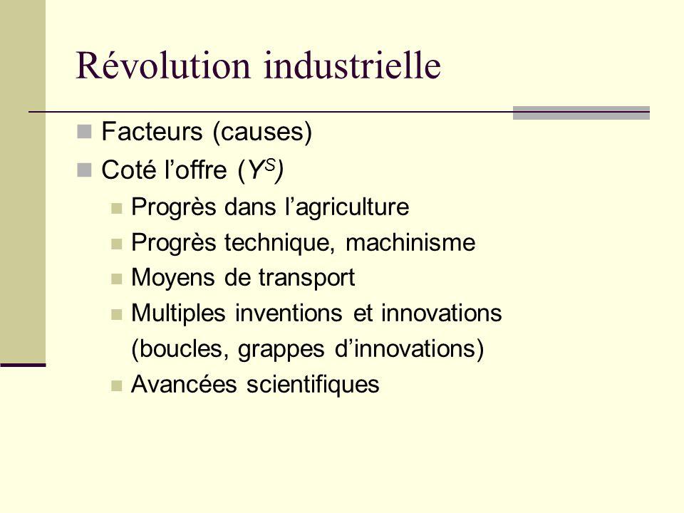 Révolution industrielle Facteurs (causes) Coté loffre (Y S ) Progrès dans lagriculture Progrès technique, machinisme Moyens de transport Multiples inventions et innovations (boucles, grappes dinnovations) Avancées scientifiques