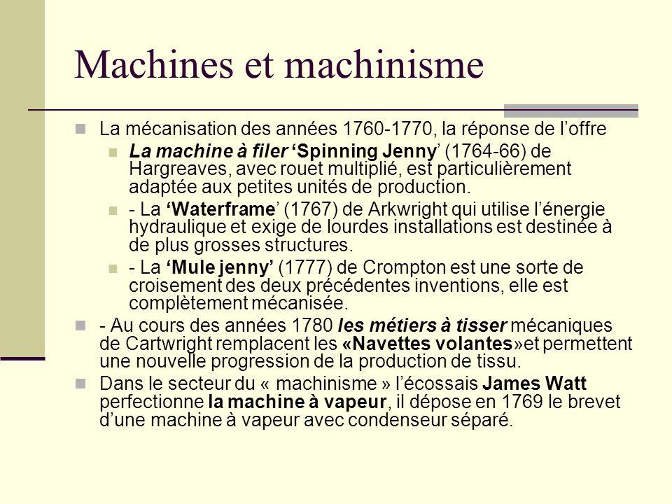 Machines et machinisme La mécanisation des années 1760-1770, la réponse de loffre La machine à filer Spinning Jenny (1764-66) de Hargreaves, avec rouet multiplié, est particulièrement adaptée aux petites unités de production.