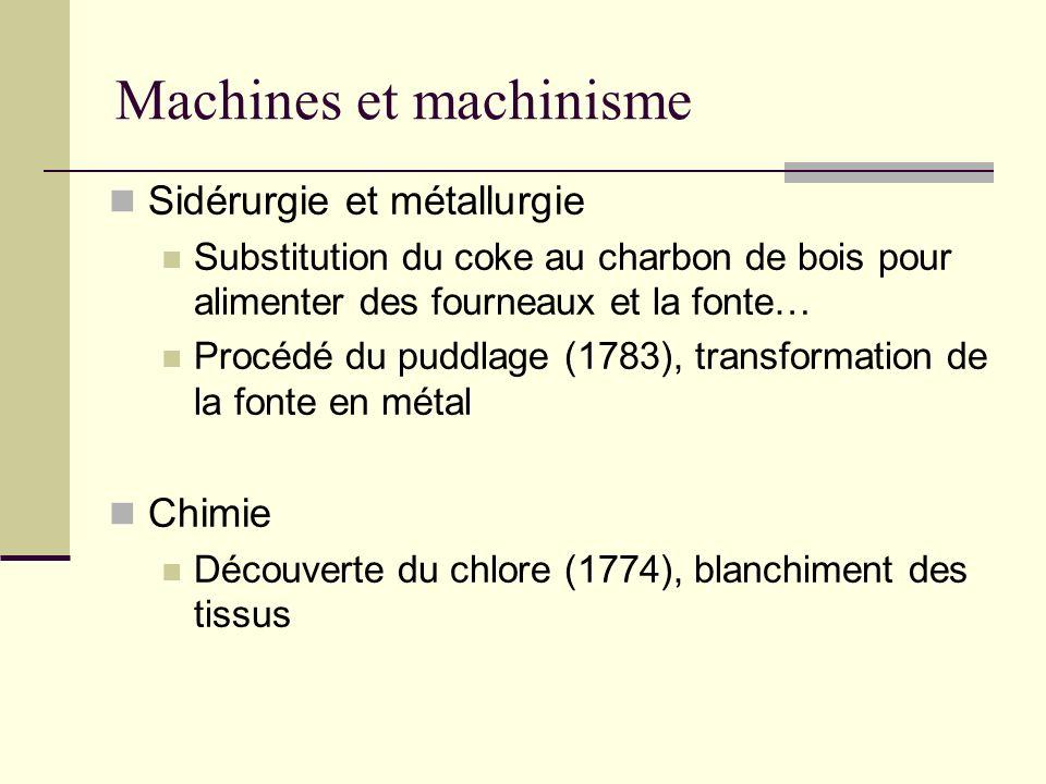 Machines et machinisme Sidérurgie et métallurgie Substitution du coke au charbon de bois pour alimenter des fourneaux et la fonte… Procédé du puddlage (1783), transformation de la fonte en métal Chimie Découverte du chlore (1774), blanchiment des tissus