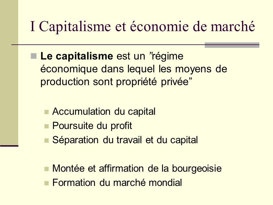 I Capitalisme et économie de marché Le capitalisme est un régime économique dans lequel les moyens de production sont propriété privée Accumulation du capital Poursuite du profit Séparation du travail et du capital Montée et affirmation de la bourgeoisie Formation du marché mondial