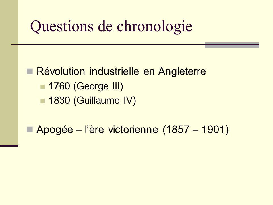 Questions de chronologie Révolution industrielle en Angleterre 1760 (George III) 1830 (Guillaume IV) Apogée – lère victorienne (1857 – 1901)