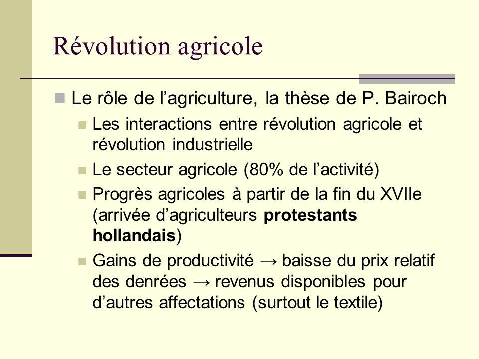 Révolution agricole Le rôle de lagriculture, la thèse de P.