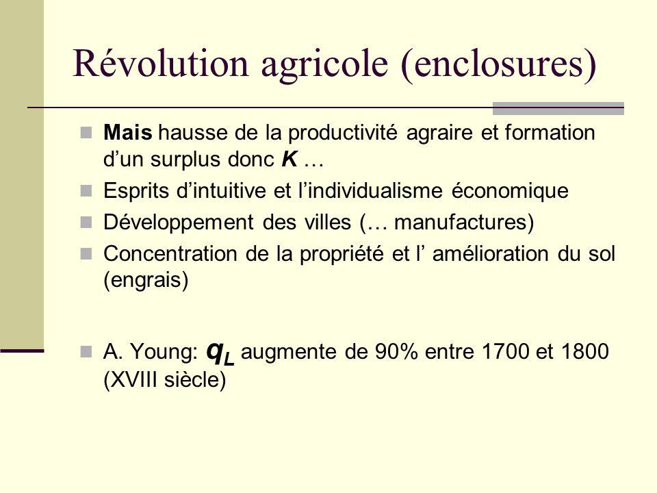 Révolution agricole (enclosures) Mais hausse de la productivité agraire et formation dun surplus donc K … Esprits dintuitive et lindividualisme économique Développement des villes (… manufactures) Concentration de la propriété et l amélioration du sol (engrais) A.