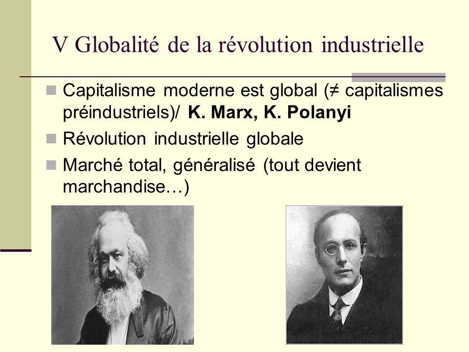 V Globalité de la révolution industrielle Capitalisme moderne est global ( capitalismes préindustriels)/ K.
