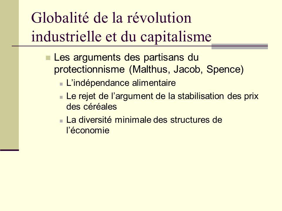 Globalité de la révolution industrielle et du capitalisme Les arguments des partisans du protectionnisme (Malthus, Jacob, Spence) Lindépendance alimentaire Le rejet de largument de la stabilisation des prix des céréales La diversité minimale des structures de léconomie